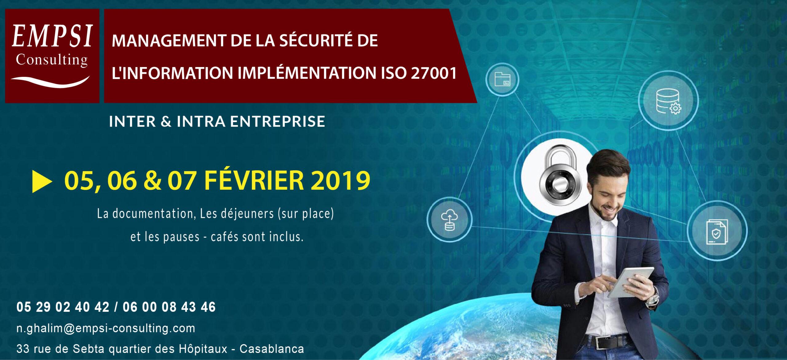 management de la sécurité de l'information implémentation iso 27001
